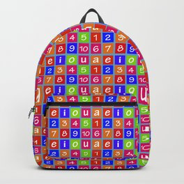 Numbers and Vowels Colorful Pattern Backpack