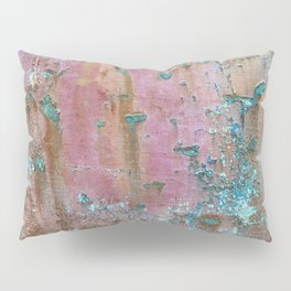 Abstract turquoise flowers on colorful rusty background Pillow Sham