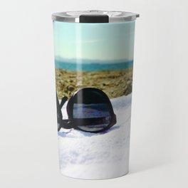 see, sun glasses, calm , beach , summer Travel Mug