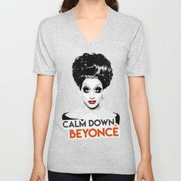 """Calm down Bey!"" Bianca Del Rio, RuPaul's Drag Race Queen Unisex V-Neck"
