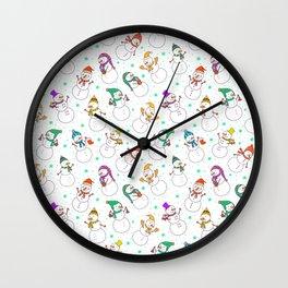 Cute red purple white snowman christmas pattern Wall Clock