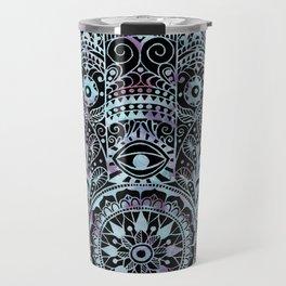 Watercolor Blue Pink Hamsa Hand Travel Mug