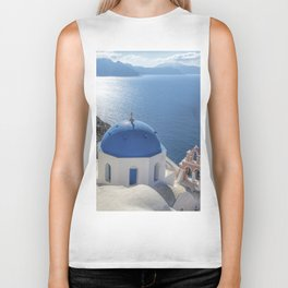 Santorini Island with churches and sea view in Greece Biker Tank