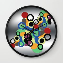 Multi colored circles on metal Wall Clock