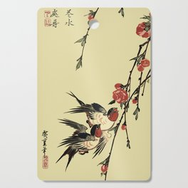 Moon Swallows and Peach Blossoms Cutting Board