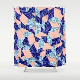 Colorful Aqua Geometric Pattern Shower Curtain