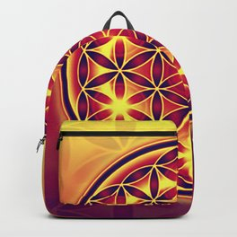 FLOWER OF LIFE batik style yellow red Backpack