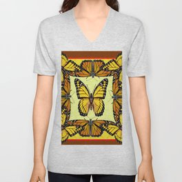ORIGINAL DESIGN  ABSTRACT OF YELLOW & ORANGE MONARCH BUTTERFLIES BROWN ART Unisex V-Neck