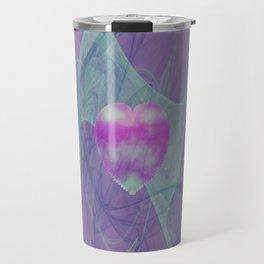 Heart Art- Abstract Art- Now or Later- Pink Heart- Purple Heart-Green-Pattern Art- Sacred Geometry Travel Mug