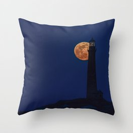 Full blue moon behind Thacher island lighthouse Throw Pillow