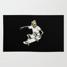 Vintage Skateboarding Skeleton Rug