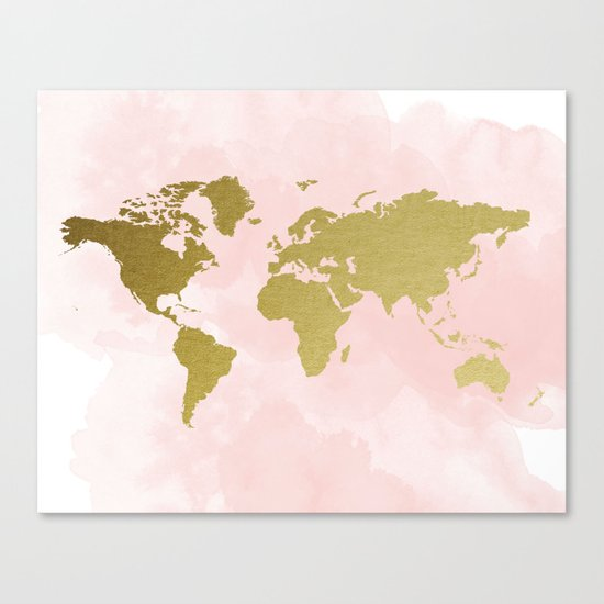 Gold world map poster canvas print by peachandgold society6 gumiabroncs Images