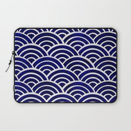 Japanese Seigaiha Wave – Navy Palette Laptop Sleeve