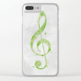 Lime Green Watercolor Treble Clef Clear iPhone Case