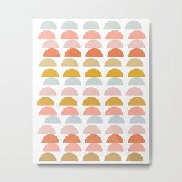 Geometric Half Circles Pattern in Earth Tones Metal Print