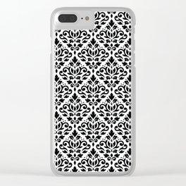 Scroll Damask Big Pattern Black on White Clear iPhone Case