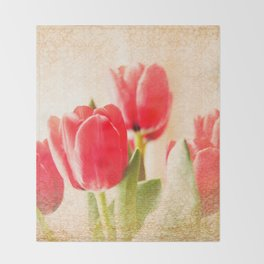 Red Tulips Throw Blanket