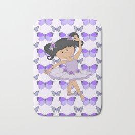 Purple Butterflies and Ballerina Bath Mat