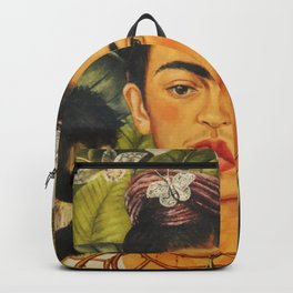 Frida Kahlo Self-Portrait Thorn Necklace and Hummingbird Backpack