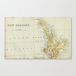 Vintage Map of New Zealand Canvas Print