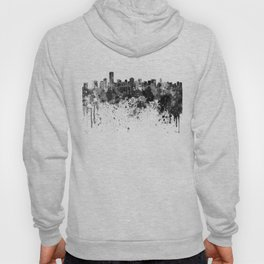 Miami skyline in black watercolor Hoody