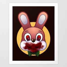 Robbie The Rabbit Bloodied Art Print