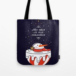 Mes voeux les plus chaleureux  - Melting Snowman - MIDNIGHT BLUE Tote Bag