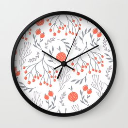 Red Berry Floral Wall Clock