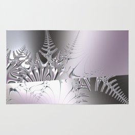 Gentle ice crystals like fern -- Fractal abstract Rug