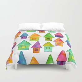 Home Sweet Home house illustration holiday gift family parents housewarming gift grandparents Duvet Cover