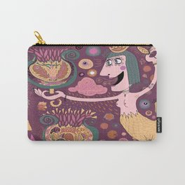 The Bird Lady Cometh, plum mauve version Carry-All Pouch