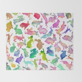 Watercolour Bunnies Throw Blanket