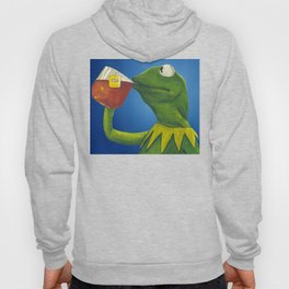 Painted Meme Frog Drinking Tea but it's none of my business Hoody