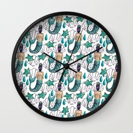 mermaid pattern shells seastar Wall Clock