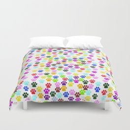 Dog Paws, Trails, Paw-prints - Red Blue Green Duvet Cover