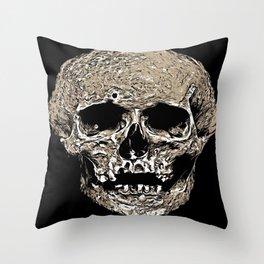Full Skull With Rotting Flesh Vector Throw Pillow