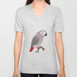 Cute African grey parrot vector Unisex V-Neck