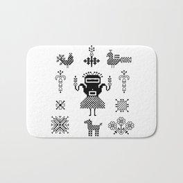 folk embroidery, Collection of flowers, birds, peacocks, horse, man, geometric ornaments, symbols e Bath Mat