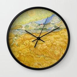 "Vincent van Gogh ""Wheat Field behind Saint Paul Hospital with a Reaper"" Wall Clock"