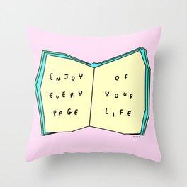Enjoy Your Life - Book Illustration Throw Pillow