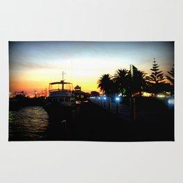 Night lights as Dusk settles over the Esplanade in Lakes Entrance - Australia Rug