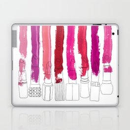 Lipstick Stripes - Floral Fuschia Red Laptop & iPad Skin