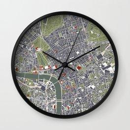 London city map engraving Wall Clock