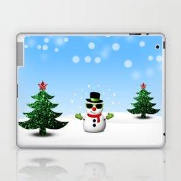 Cool Snowman and Sparkly Christmas Trees Laptop & iPad Skin