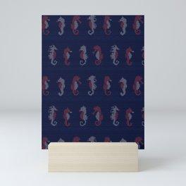 Cute seahorses knitting stitch illustration pattern. Mini Art Print