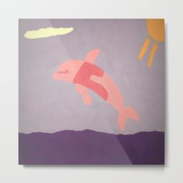 Pink Dolphin Metal Print