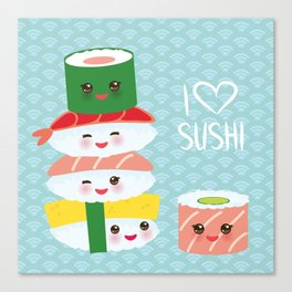 I love sushi. Kawaii funny sushi set with pink cheeks and big eyes, emoji. Blue japanese pattern Canvas Print