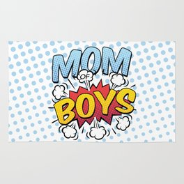 Mom of Boys Mother's Day Comic Book Style Rug