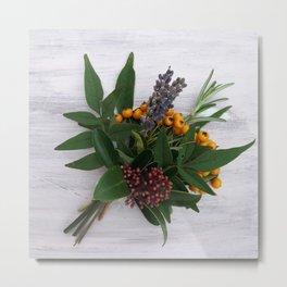 Tied herbs and berries. Metal Print