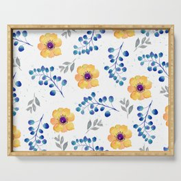 Orange flowers / Blue eucalyptus Serving Tray